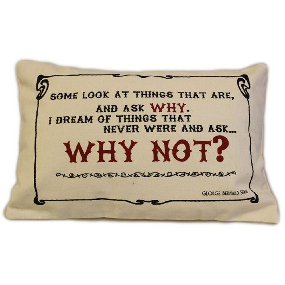 CUSCINI LETTERARI - Copricuscino in Juta lavata / Cotton pillow case  WHY NOT - Size 38x25cm
