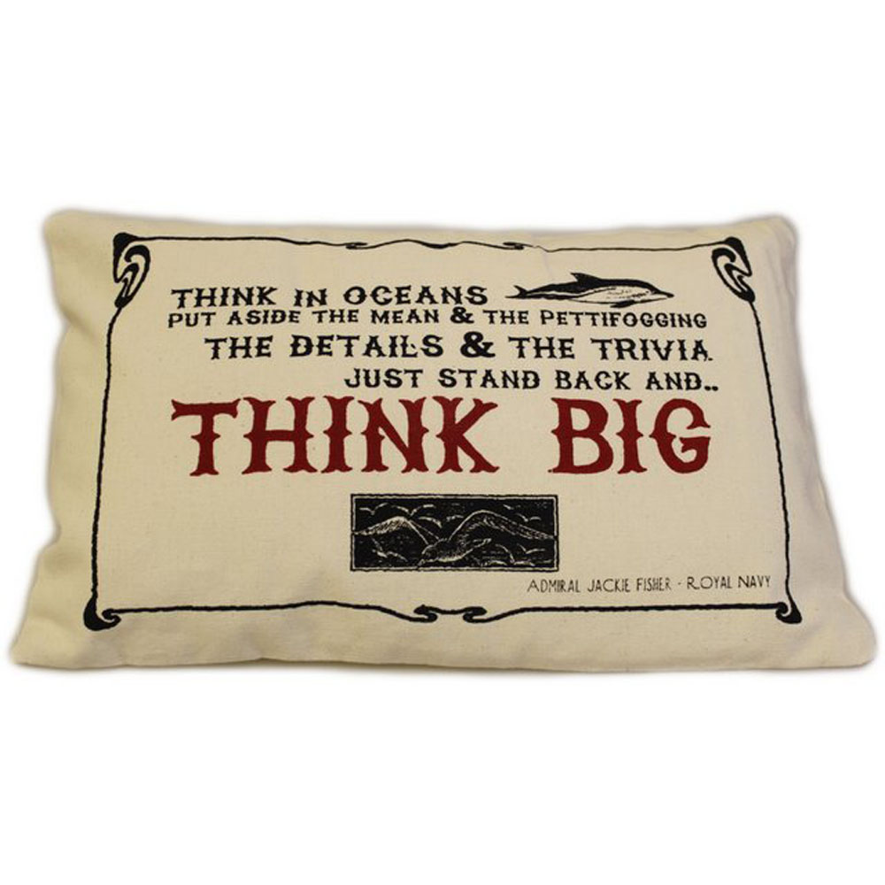 CUSCINI LETTERARI - Copricuscino in Juta lavata / Cotton pillow case  THINK BIG - Size 38x25cm