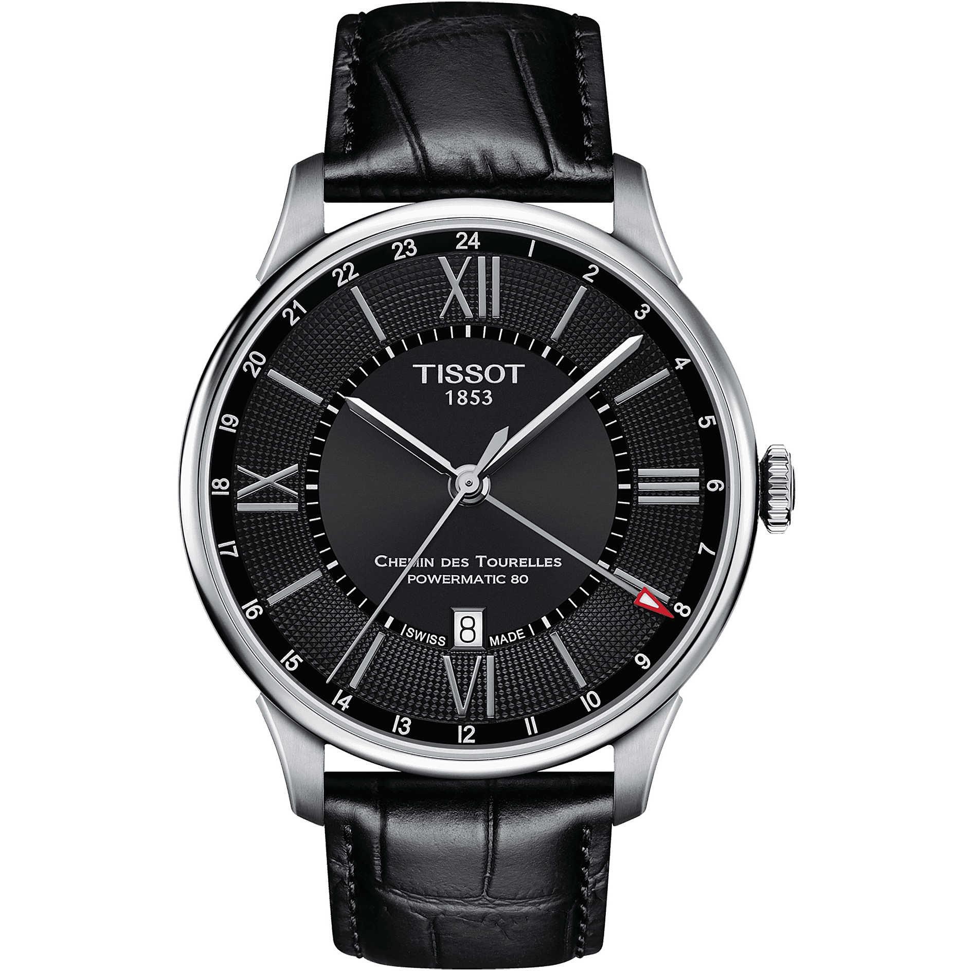 "Pánske hodinky Tissot ""CHEMIN DES TOURELLES POWERMATIC 80 GMT"""